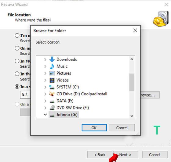 recuva file location