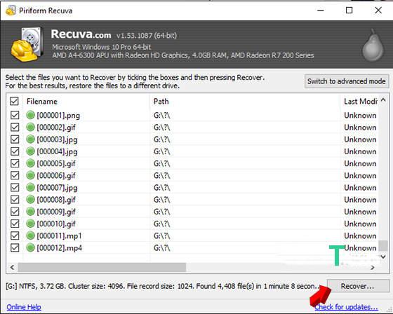 recuva recover software